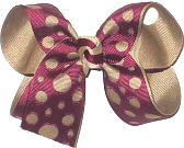 Medium Burgundy with Die Cut Rounds over Khaki Double Layer Overlay Bow