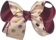 Medium Oatmeal with Metallic Gold Dots over Burgundy Double Layer Overlay Bow