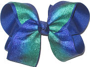 Large Green and Century Blue Double Layer Overlay Bow