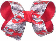 Medium Crawfish Boil Crawfish on Newspaper over Red Double Layer Overlay Bow