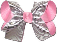 Medium Metallic Silver Zebra Stripes over Pink Double Layer Overlay Bow