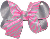 Medium Glitter Gray Zebra Stripes on Hot Pink over Gray Double Layer Overlay Bow