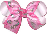 Medium Silver Mermaids on Hot Pink over White Double Layer Overlay Bow