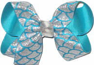Medium Silver Glitter Mermaid Scales over Turquoise Double Layer Overlay Bow