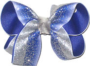 Medium Silver Glitter Chiffon over Pansy Double Layer Overlay Bow