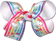 Medium Rainbow Unicorns over White Double Layer Overlay Bow