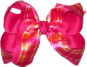Orange Yellow and Pink over Shocking Pink Large Double Layer Bow