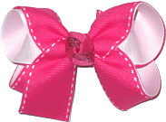 Medium Red with White Saddle Stitch over White Double Layer Overlay Bow