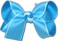 Medium Turquoise with White Saddle Stitch over Turquoise Double Layer Overlay Bow