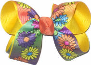 Medium Multicolor Daisies over Maize Double Layer Overlay Bow