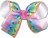 Medium Pastel Rainbow Unicorns over White Double Layer Overlay Bow