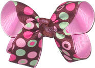 Medium Multicolor Dots on Brown over Pixie Pink Double Layer Overlay Bow