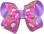 Medium Prince Frog on Shocking Pink over Orchid Double Layer Overlay Bow