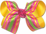 Medium Multicolor Stripes over Maize Double Layer Overlay Bow