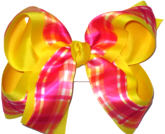 Orange Yellow and Pink over Maize Large Double Layer Bow