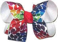 Medium Multicolor Leaves over White Double Layer Overlay Bow