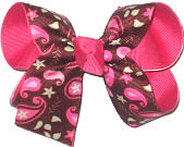 Medium Paisley and Stars on Brown over Shocking Pink Double Layer Overlay Bow