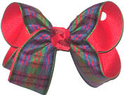 Medium Plaid over Red Double Layer Overlay Bow