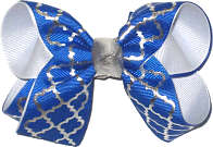 Medium Electric Blue and Metallic Silver Quatrafoil over White Double Layer Overlay Bow