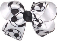 Medium Black and White Soccer Balls over White Double Layer Overlay Bow