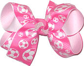 Medium Pink and White Soccer Balls over White Double Layer Overlay Bow