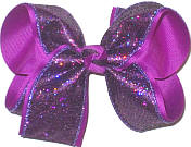 Large Metallic Purple Minidot over Royal Orchid Double Layer Overlay Bow