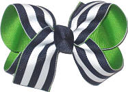 Medium Navy and White Stripes over Emerald Double Layer Overlay Bow