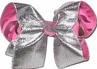 Large SIlver Metallic Ribbon over Silver Tiger Stripes on Hot Pink Double Layer Overlay Bow