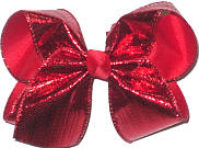 Large Red Metallic Ribbon over Red Double Layer Overlay Bow