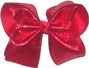 MEGA Red Metallic Sharkskin Pattern over Red Double Layer Overlay Bow