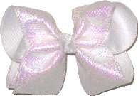 Large Iridescent Minidots over White Double Layer Overlay Bow