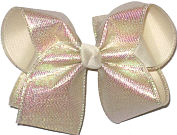 MEGA Iridescent Sharkskin Pattern over Light Ivory Double Layer Overlay Bow