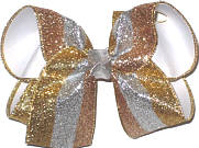 MEGA Gold Silver and Copper Glitter Stripes over White Double Layer Overlay Bow