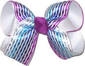 Medium Silver Blue and Purple Satin Stripes over White Double Layer Overlay Bow