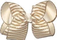 MEGA Light Ivory Canvas with Gold Glitter Stripes over Light Ivory Double Layer Overlay Bow