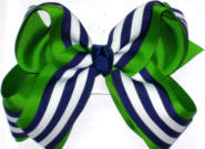Navy and White Stripe over Apple Green Large Double Layer Bow