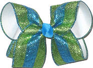 Large Green and Turquoise Glitter Stripes over White Double Layer Overlay Bow