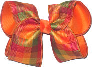 Large Autumn Colors Plaid over Orange Double Layer Overlay Bow