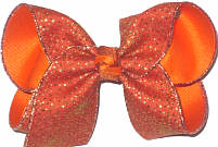 Large Dark Orange Canvas with Metallic Gold Minidots over Orange Double Layer Overlay Bow