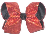 Large Orange Glitter over Black Double Layer Overlay Bow
