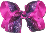 Large Multicolr Metalic Mesh over Wild Berry Double Layer Overlay Bow