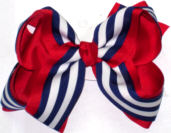 Large Navy and White Stripe School Bow
