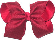 MEGA Cranberry Canvas over Cranberry Double Layer Overlay Bow