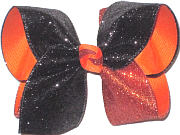 Large Black and Orange Glitter over Orange Double Layer Overlay Bow