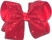 Large Red Glitter Mesh over Red Double Layer Overlay Bow