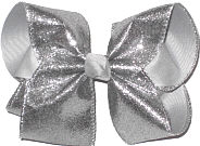 MEGA Silver Crinkle Metallic over Millenium Gray Double Layer Overlay Bow