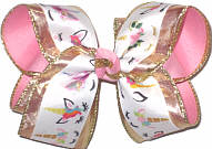 Large Three Layer Unicorn Print over Metallic Gold Mesh over Pink Double Layer Overlay Bow