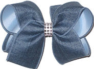 Large Demin with Rhinestone Center over Millenium Blue Double Layer Overlay Bow