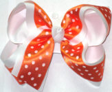 Orange with White Dots ovr White Large Double Layer Bow