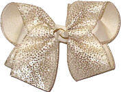 Large Gold Glitter Dot Chiffon over Light Ivory Double Layer Overlay Bow